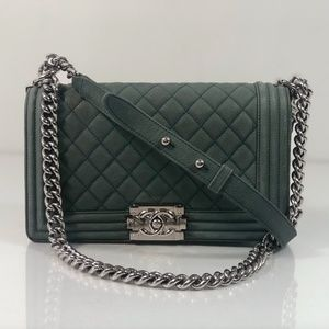 Chanel Caviar Leather Old Boy Medium in Green